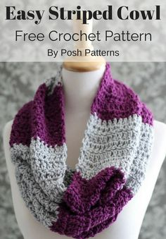 Free Crochet Pattern - An easy crochet cowl pattern that is perfect for beginners! The style is simple and classic, and it makes a cute and cozy accessory. By Posh Patterns.