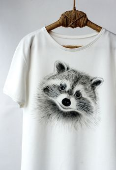 Hand Painted, Designer Shirts, Art Clothing, Handpainted, Animal Shirt, Painted Clothing, Animal Tshirt, Painted Shirt, Raccoon, Raccoon Art, Funny Animal Shirt, Handpainted Clothing, Paint T Shirt, Racoon, For Him, For Boyfriend, Men T Shirt