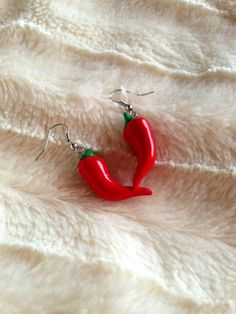 Miniature Food Earrings - Red Chilly Hot Earrings - Miniature Food Jewelry - Petite Dangle Earring - Tiny Food Earrings  - cute earrings on Etsy, $6.50