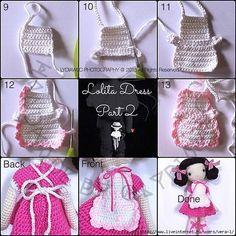 Luty Artes Crochet: Bonecas de crochê Crochet Doll Clothes, Knitted Dolls, Crochet Doll Dress, Crochet Doll Pattern, Doll Clothes Patterns, Crochet Crafts, Crochet Toys, Diy Crochet, Crochet Designs
