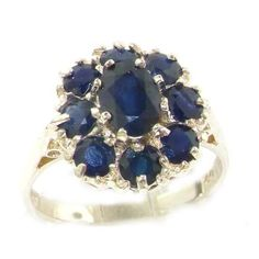 14k White Gold Natural Sapphire Womens Cluster Ring - Sizes 4 to 12 Available ** More info could be found at the image url.