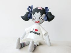 Scary gifts at DaWanda - This is unique hand made Zombie Doll for all zombie lovers. It's made of felt with cute polar fleece dress. Do you like horrors? Zombies? Monsters? This doll is perfect for you - via en.dawanda.com