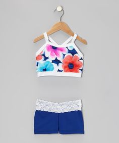 Take a look at this Royal Blue Flower Crop Top & Shorts - Girls by Elliewear on #zulily today!
