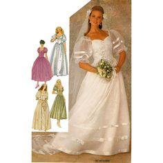 1980s Wedding Dress Pattern Simplicity 6241 by JFerrariDesigns, $12.00