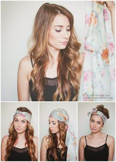 How To Tie a Head Scarf for the Summer: 3 Ways! How To Tie a Head Scarf for the Summer: 3 Ways! My Hairstyle, Scarf Hairstyles, Hairstyles With Bangs, Trendy Hairstyles, Layered Hairstyles, Diy Head Scarf, Head Scarf Tying, Head Scarfs, Natural Hair Styles