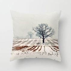 Pillow Cover Photo Pillow Winter Farm Trees Landscape by ellemoss,