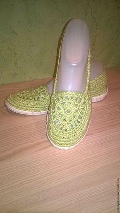 Купить Балетки хлопковые - ярко-зелёный, обувь ручной работы, Вязание крючком, вязание обуви
