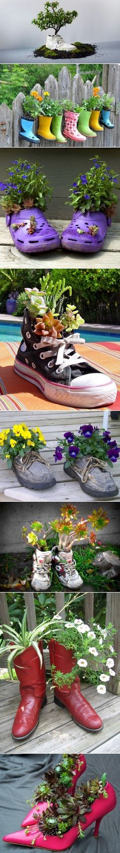 What Can We Do with Old Shoes? Please do not throw away old shoes. You can recycle the old shoes to Decorate Gardens And Outdoor Rooms. Garden Crafts, Garden Projects, Garden Ideas, Garden Pots, Diy Projects, Yard Art, Old Shoes, Outdoor Projects, Dream Garden