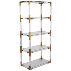 Hayley 4-Shelf Clear Acrylic Open Bronze Brass Bookcase $1,449