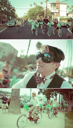 Santa Monica Vintage Wedding - riding bikes from the ceremony in Palisades Park to the reception @ The Santa Monica Bay Womens Club - love!
