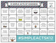 Combat bullying by spreading kindness! Free printable calendar with a simple act of kindness for each day in October