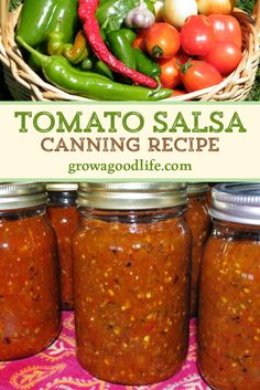 Spicy Salsa Recipe For Canning, Tomato Salsa Canning, Canned Salsa Recipes, Mexican Salsa Recipes, Tomato Salsa Recipe, Fresh Salsa Recipe, Fresh Tomato Recipes, Fresh Tomato Salsa, Vegetable Recipes