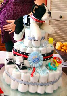 Boston Terrier diaper cake would be a super cute decoration for the shower. Using the pink & gray colors for the ribbon & saying It's a girl!