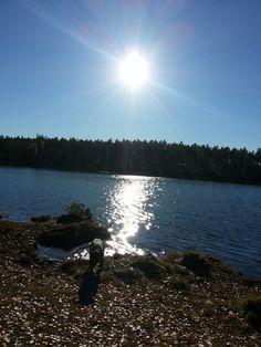Sol og blå himmel Celestial, Mountains, Sunset, Nature, Travel, Outdoor, Heavens, Outdoors, Naturaleza