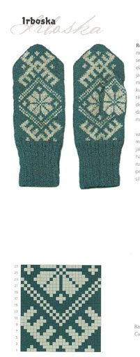 "Photo from album ""Варежки ))) схемы"" on Yandex. Knitted Mittens Pattern, Crochet Mittens, Knit Crochet, Knitting Charts, Knitting Patterns, Fair Isle Knitting, Tapestry Crochet, Knitting Designs, Mitten Gloves"