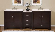 """Silkroad Exclusive HYP0910CMUWC89 89"""" Double Sink Vanity with Crema Marfil Marble Top, 5 Pullout Storage Drawers, 2 Double-Door Storage Cabinets, and Solid Wood Construction in Dark Walnut"""