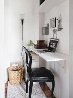 Small Space Solutions: The Wall Mounted Desk – home office organization ideas Small Space Office, Desks For Small Spaces, Home Office Space, Small Space Living, Home Office Design, Home Office Decor, Small Apartments, Living Spaces, Home Decor