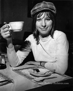 Barbara Streisand drinking tea