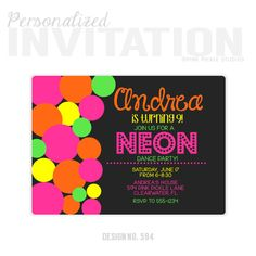 Items similar to Neon Polka Dots Birthday Party Invitations, personalized thank you cards, birthday invitations, party invitations / on Etsy Neon Party Invitations, Birthday Invitations, Personalized Thank You Cards, Personalized Invitations, Balloon Decorations Party, Party Themes, Ideas Party, Party Deco, Party Party