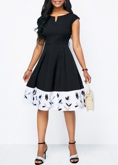 Black Dresses Printed Split Neck Cap Sleeve A Line Dress Sexy Dresses, Dress Outfits, Casual Dresses, Fashion Outfits, A Line Dresses, Cheap Dresses, Fashion Women, High Fashion, Half Sleeve Dresses