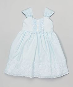 Another great find on #zulily! Blue Embroidered Babydoll Dress - Toddler & Girls #zulilyfinds