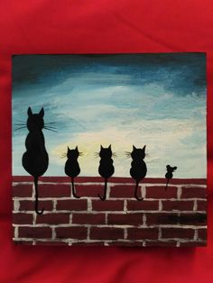 Funny acrylic cats and a mouse. :) Made by Wandy86. 2018.08.26. Easy Canvas Painting, Simple Acrylic Paintings, Autumn Painting, Painting For Kids, Diy Painting, Watercolour Painting, Easy Paintings For Beginners, Acrylic Painting For Beginners, Beginner Painting
