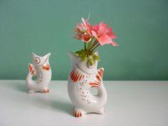 Vintage mini Fisch Vase Väschen Porzellan 50er von ILoveSparrows auf DaWanda.com