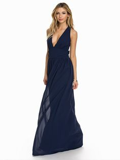 Criss Cross Chiffon Maxi Dress - Club L - Navy - Party Dresses - Clothing - Women - Nelly.com