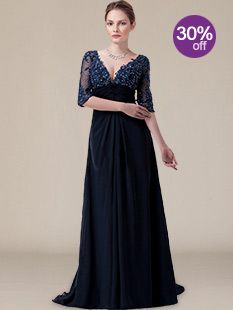 Modest Mother of The Bride Dresses_Navy