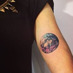 Watercolor style moon tattoo on the inner arm. Tattoo artist:...