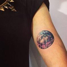 Watercolor style moon tattoo on the inner arm. Tattoo artist:...