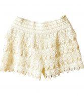 Beige Layered Crochet Lace Shorts - Sheinside.com