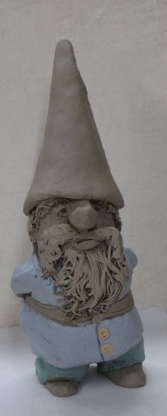 Gnome, handbuilt by Glynnis Lessing. Sculptures Céramiques, Sculpture Clay, Ceramics Projects, Clay Projects, Clay Monsters, Clay People, Kids Clay, Sculpture Lessons, Classroom Art Projects