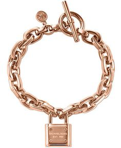 Michael Kors Rose Gold-Tone Chain and Logo Padlock Bracelet - Fashion Bracelets - Jewelry & Watches - Macy's