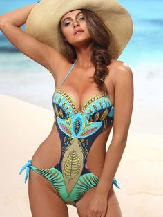 For this fall love this print! #Jolidon Foremost #womenswimwear #Monokini with underwire and padded top #beachwear