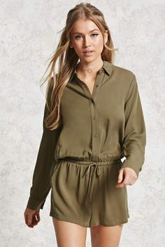 41f81433c8c A twill woven romper featuring a shirt collar
