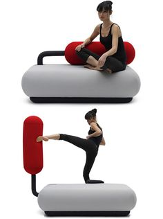 Champ Sofa transforms into a punching bag.