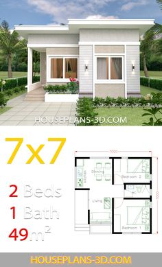 Casas pequeñas Small House Design Plans with 2 Bedrooms - House Plans Dog Gets Into Water Gar Simple House Plans, My House Plans, Simple House Design, Modern House Design, 2 Bedroom House Design, Two Bedroom House, Bungalow House Design, Bedroom Small, House Layout Plans