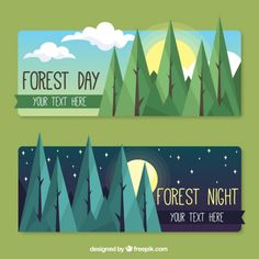 Forest day and night banners in flat design Free Vector