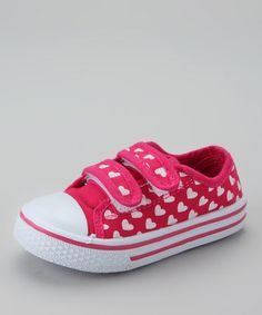 Take a look at this Fuchsia & White Hearts Sneaker by Best Shoes on #zulily today!