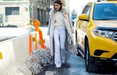 Shades of winter white // cream knit, white jeans and a long fur-lined coat... - Street Style