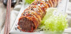 meat sushi top Greek Dishes, Side Dishes, Bacon Meatloaf, Pork Fillet, Happy Foods, Greek Recipes, No Cook Meals, Food To Make, Dinner Recipes