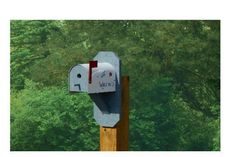 Mailbox-Style Wren Bird House from DutchCrafters Amish Furniture. Made from solid wood and hand painted in a variety of colors, this unique bird house will bring all the Wrens to the yard. #birdhouse #painted #unique #wooden