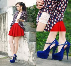 blue shoes, red skirt