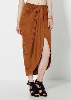 image of Suede Draped Midi Skirt