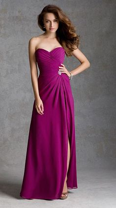 Strapless Chiffon long bridesmaid dress with ruched bodice and beaded brooch.