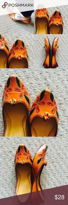 New ! Hand Painted Leafy Shoes New Collection! Medley of beautiful colors. Hand painted leaves and flowers with Pom Pom. Tend to expand a bit after 3-4 wears.Super Comfy!  In India, we call these 'jutti'. Shoes Flats & Loafers