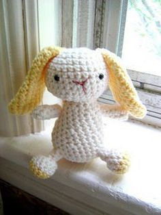 This dear little amigurumi bunny is so quick and easy to crochet that you may have to make a whole hutch-full. Perfectly sized for children to tuck into their backpacks and only one of our many amigurumi animals. As seen in Martha Stewart Living, January 2010. (Lion Brand Yarn)