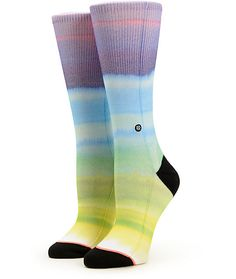 Add some colorful dimension to your collection with these ultra soft and buttery combed cotton crew socks that feature springy elastic arch support and a colorful allover sublimated print.