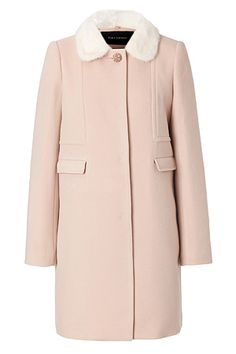 A luxe white mink collar lends an impossibly feminine look to this powder pink coat from Tara Jarmon #Stylebop